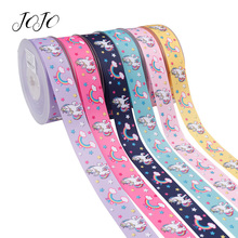 JOJO BOWS 25mm 5y Grosgrain Ribbon Printed Unicorn Rainbow Star Solid Webbing For DIY Handmade Hair Bows Festivaal Decoration