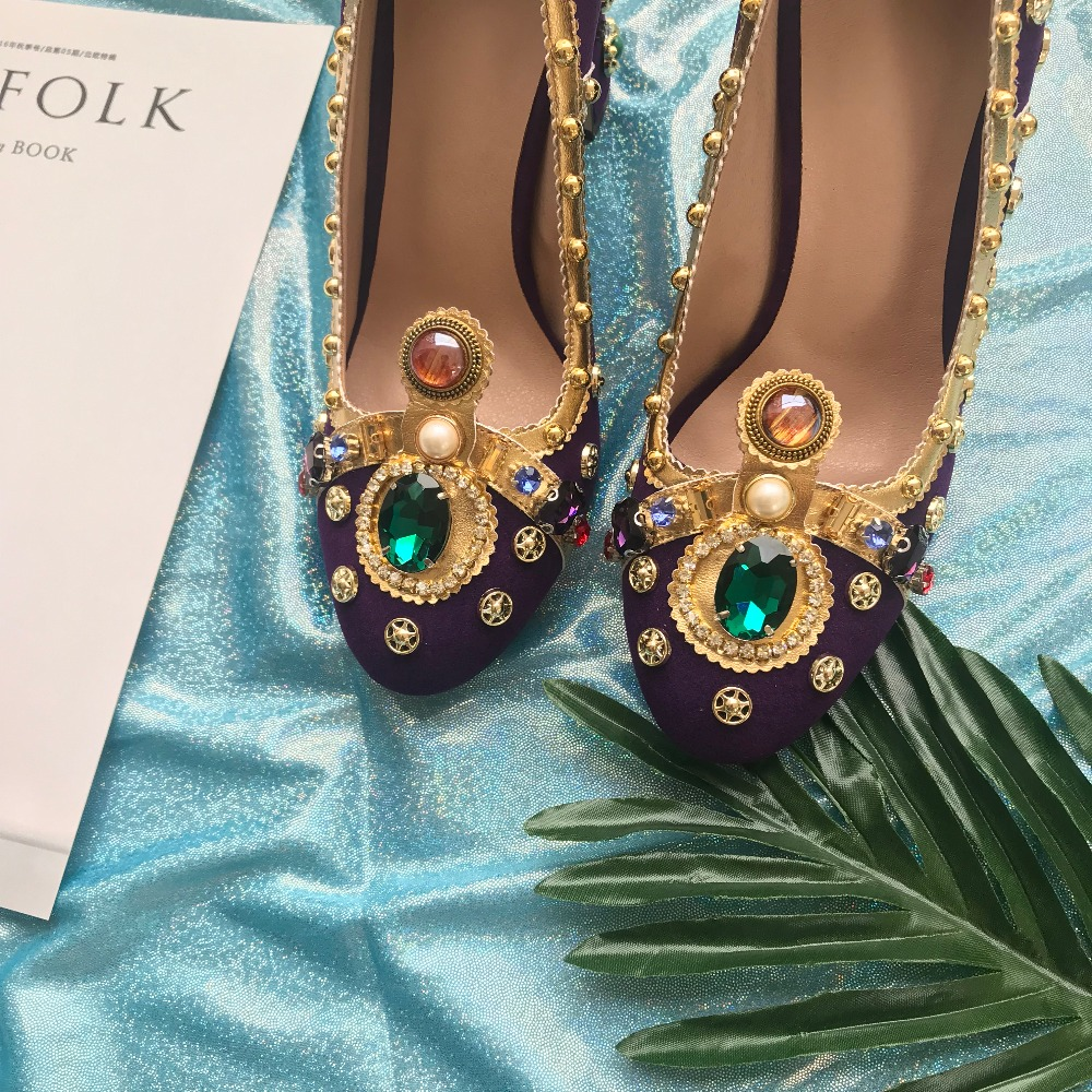 Gamuza Bombas Cristal Lujo Picture As Zapatos Púrpura Runway Partido Señoras Boda De Rhinestone Nueva Retro Mary 2018 Velvet Diseño Janes 0Evqw5WH