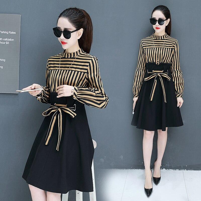 New Women Casual Stripe Dress Couture Spring Belt Waist Suit A Word Long Sleeve O Neck Korean Fashion Vestidos Dresses Girl