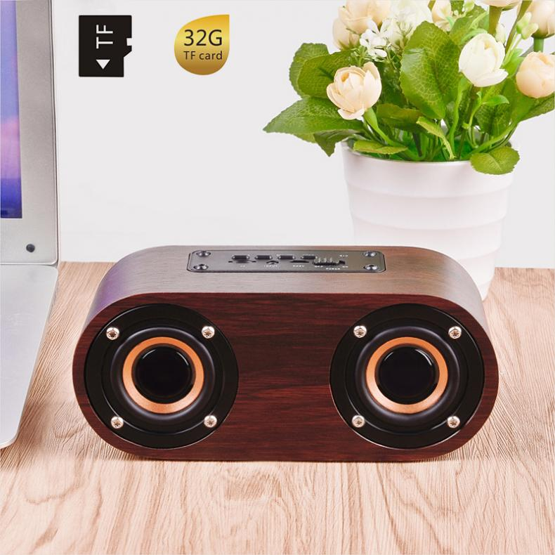 Q8 6W Wooden Double Horn 4.2 Bluetooth Wireless Speaker Support AUX Cable Connection and TF Card Playback for Smartphone