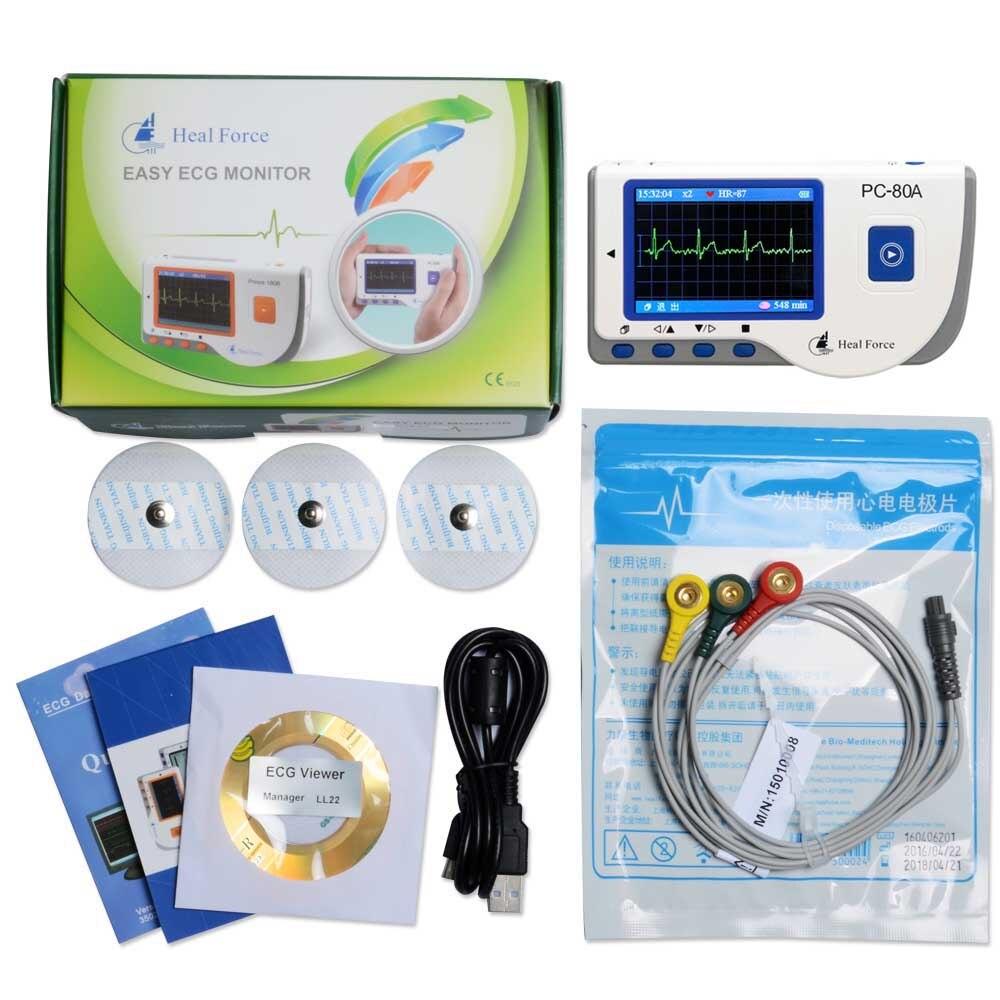Heal Force PC-80A Bluetooth Portable Ménage Coeur Ecg Moniteur CE et Approuvé PAR LA FDA