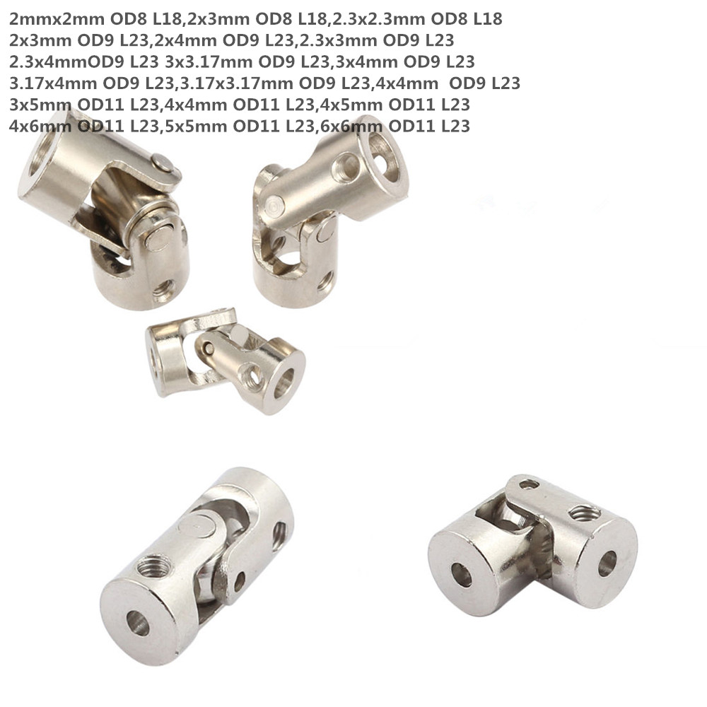5pcs Nickle Plated Iron Motor Copper Shaft Coupling for Connecting Model Cars Model Ships Robots 3.175mm - 2mm