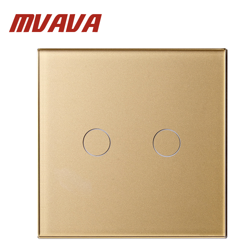 MVAVA Luxury Golden Panel Crystal Glass Touch Light Switch 80mm*80mm EU Standard 2 Gang 1 Way Remote Control Wall Touch Switch mvava eu standard 3 gang 1 way remote control light switch golden crystal glass panel touch switch wall switch for smart home