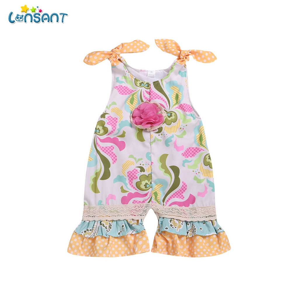 b4a8a3410376 LONSANT Boho Style Infant Toddler Kids Baby Girls Printed Sleeveless Romper  Jumpsuit Outfits Fashion Summer Cute Playsuit N30