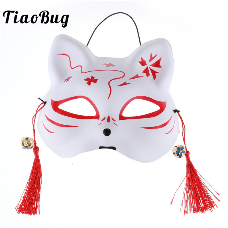 TiaoBug Hand-painted Half Face PVC Fox Cat Mask with Tassels Bells Adults Kids Japanese Kabuki Masquerade Anime Cosplay Costume