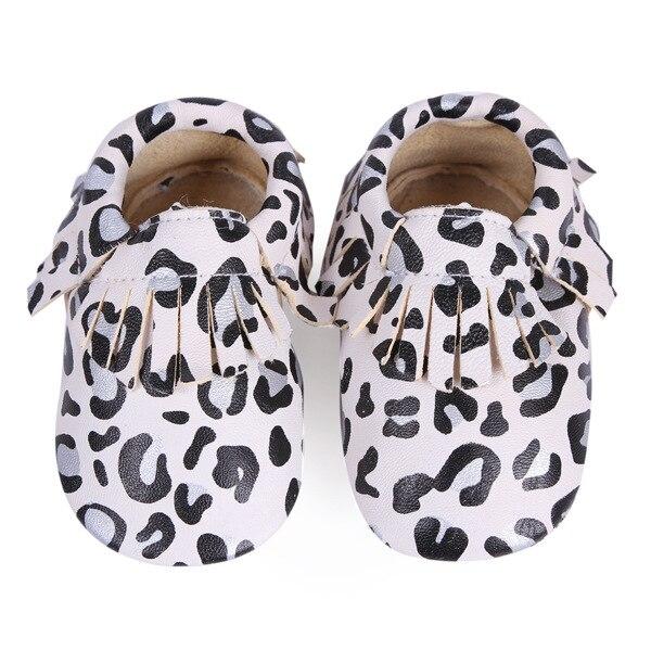 Fringe Genuine Leather Anti-slip Baby Girl Boy Shoes Soft Sole Bebe Leopard Infant Outdoor Baby Moccasins Prewalker Shoes
