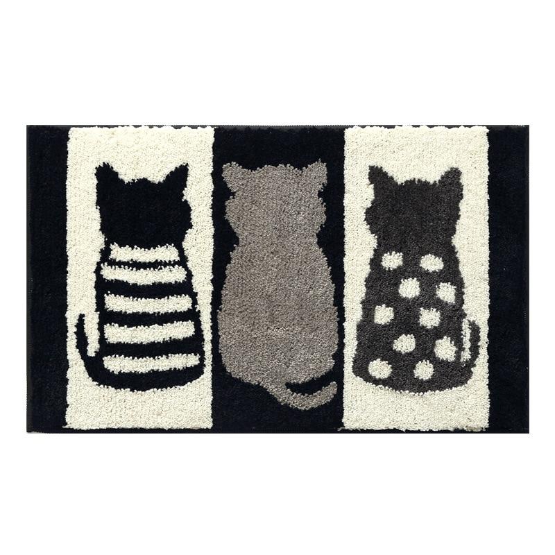 Fashion Flocking Rug 45x65cm White Black Cat Absorbent Home Living Room Bedroom Door Rugs Mat Non-slip Latex Back Floor Mats