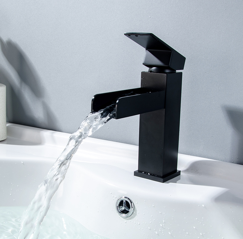 Fapully Waterfall Basin Bathroom Faucet Deck Mounted Sink Tap Black ...