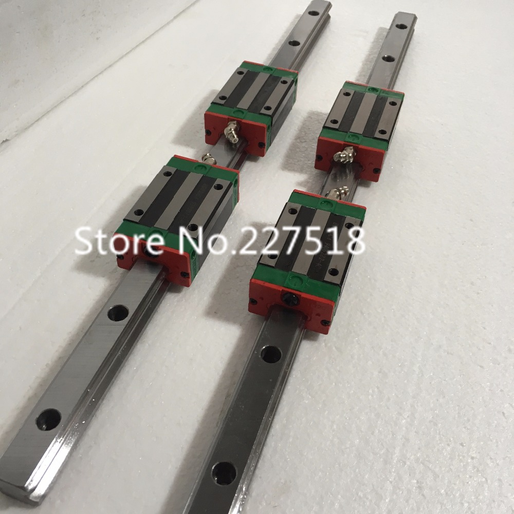 купить cnc router 4pcs carriage Block HGH15CA blocks with 15mm Type 2pcs HGR15 Linear Guide Rail онлайн