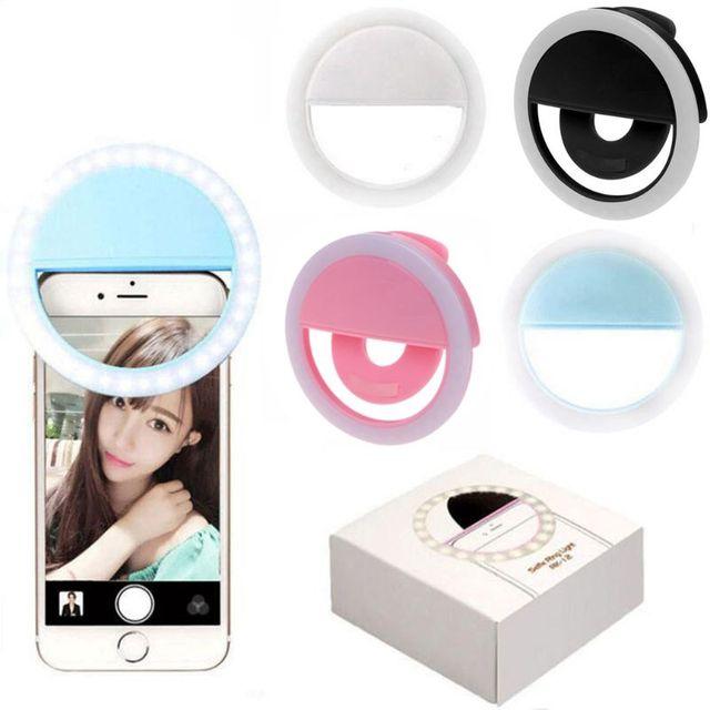 Selfie טבעת אור קליפ על USB נטענת 36 LED מצלמה טלפון למלא אור להלבין יופי הרזיה צילום מנורה