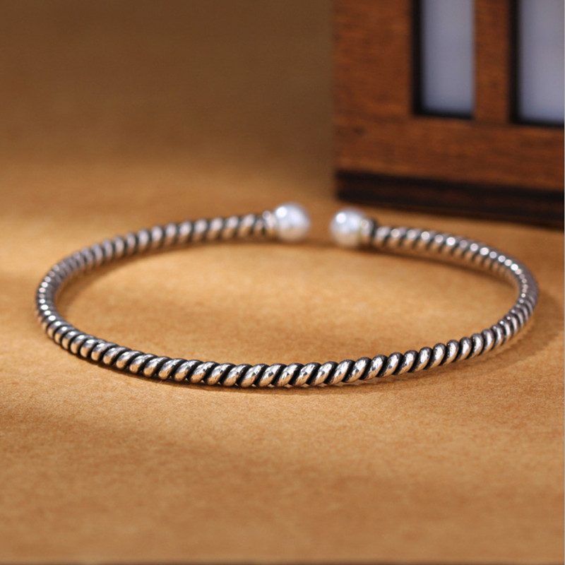 Exquisite Personality Silver Jewelry Thai Silver Stranded Teeth Natural Double Bead Pearl Simple Bracelets Bangles