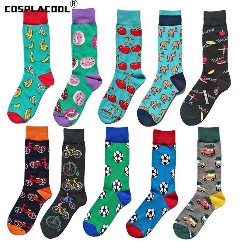Men's Animal Funny   Socks   Novelty Cherry Monkey Happy Cotton   Socks   Men Dress Wedding   Socks   Pug Beer Clacetines Hombre Divertidos