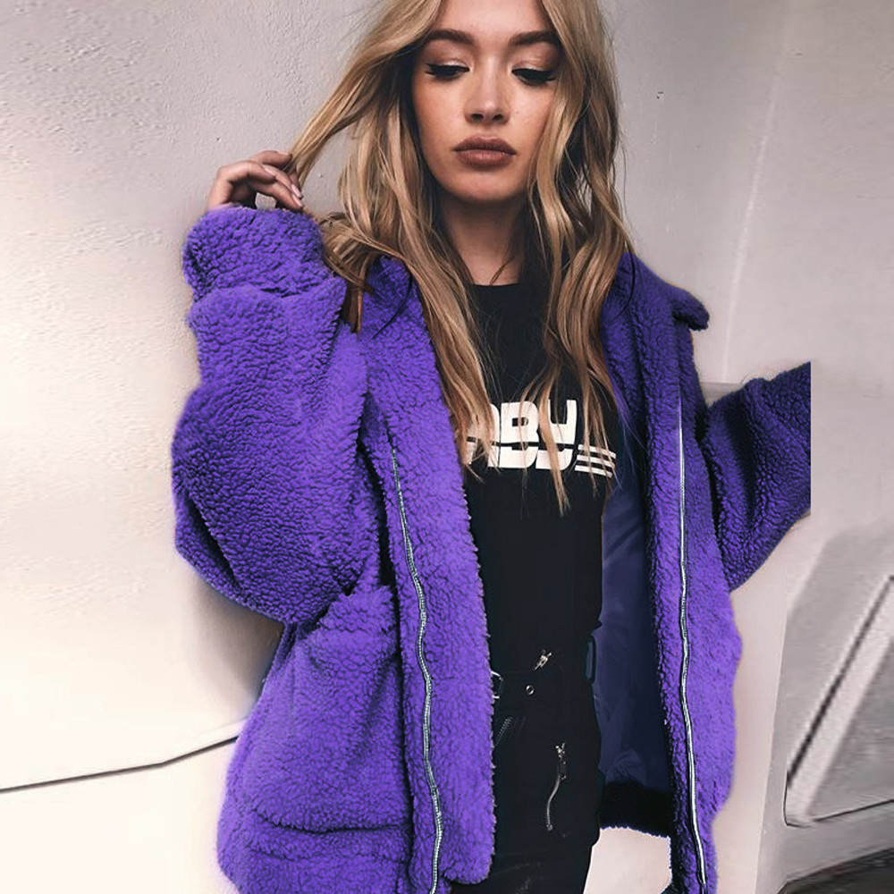 3XL fashion Women's Casual solid female thick purple large size Coat Winter Warm   Parka   Outwear Ladies Overcoat veste femme