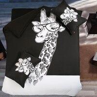 Fanaijia Lüks 3D yatak seti nevresim setleri Zürafa boyama yorgan bedclothes kraliçe kral boyutu % 100% Pamuk çarşaf
