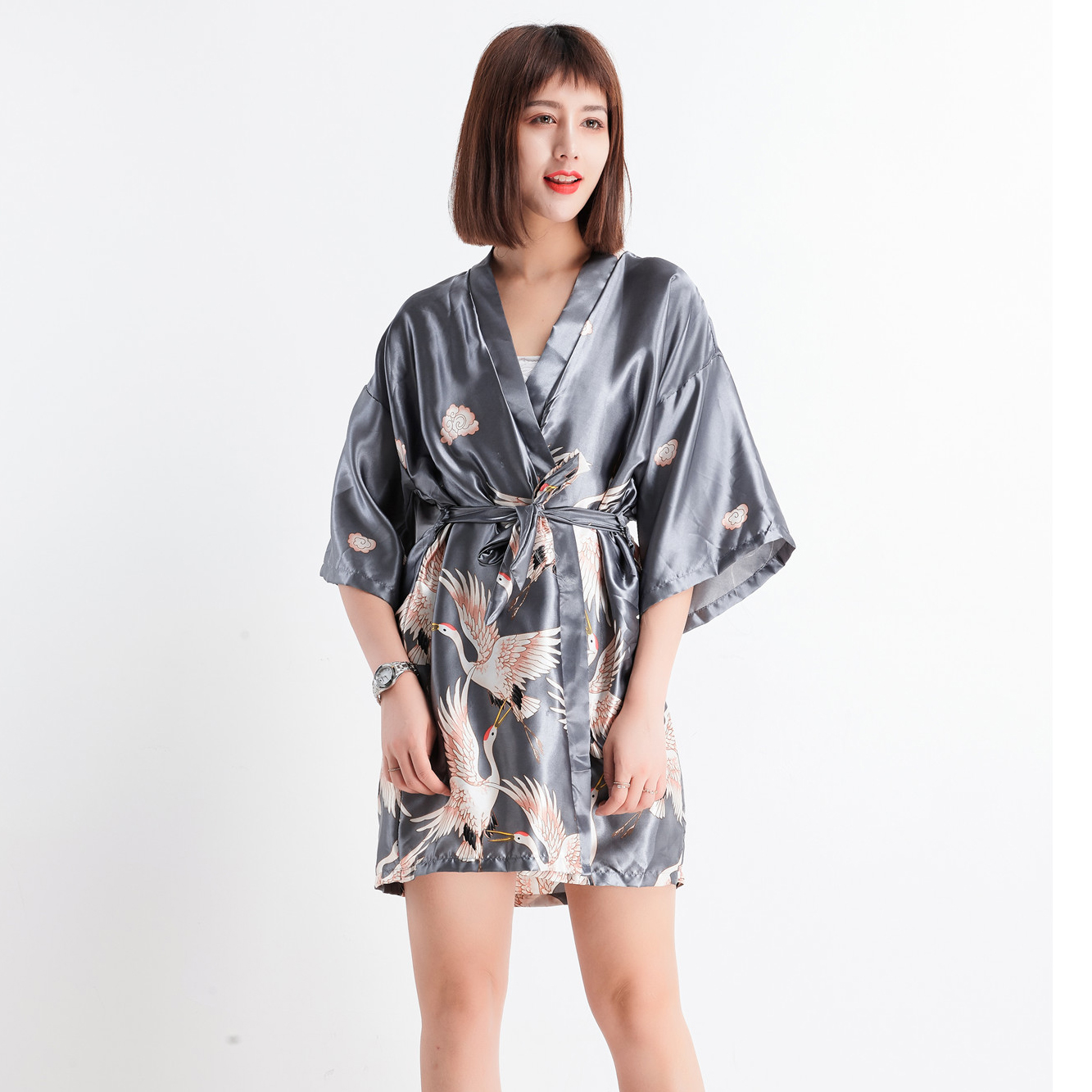 0d028550a3 Women Rayon Sleepwear New Printed Robe Lady Dressing Gown Casual Kimono  Bathrobe Summer Nightdress Silky Nightgown Plus Size -in Robes from Women's  ...