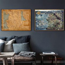 Witcher Map Game Canvas Painting Wall Art Nordic Decoration Home Modern Poster For Living Room Unframed Print Pictures