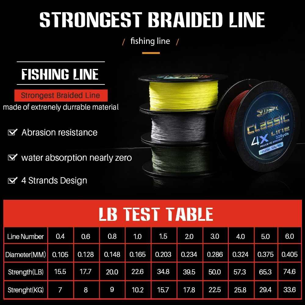 Sougayilang 300M PE trenzado línea de pesca 4 soporte 15,5-74.6LB multifilamento de agua salada de agua dulce línea de pesca herramienta de aparejos de pesca