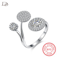 DODO Popular Three Round Lotus Open Rings For Women Genuine 925 Sterling Silver Jewelry Aaa Zircon