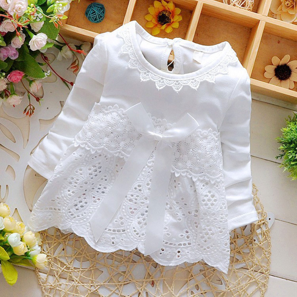 Baby Girls Lace Flower Dresses Sweet Crochet Long Sleeve Bow knot Summer Floral Cotton Hollow out Dress little vestido infantil