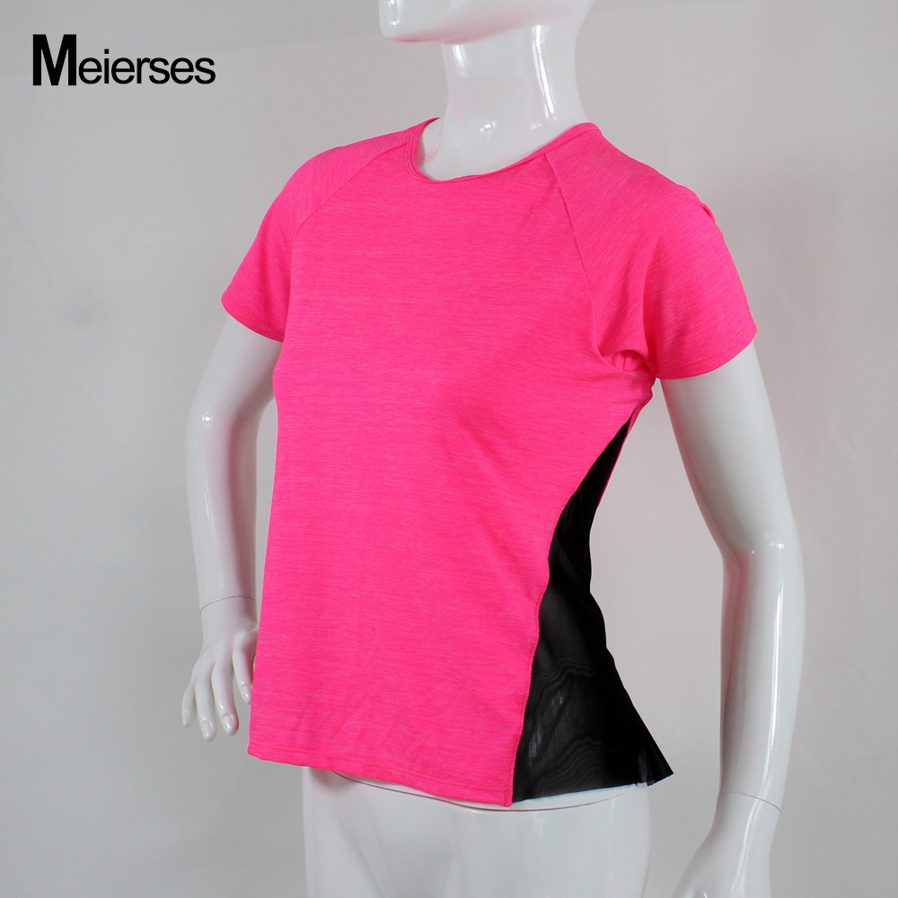 MEIERSES Active Womens Scoop Neck Short Sleeve Tee With Mesh Insert Side & Back Bottom Fast Dry Sports Tops Loose Gym Wear