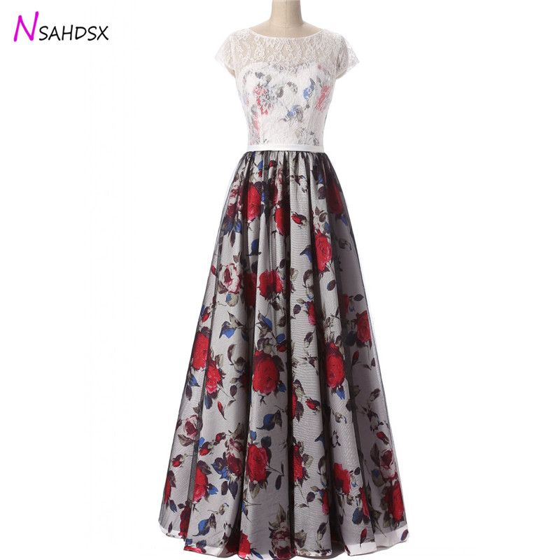 New Summer 2018 Tailor Made plus size Fashion Print Evening Women Dress Banquet Host Clothing Simple Lace Round Neck Dance ...