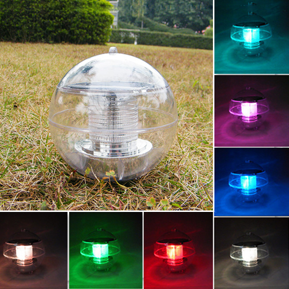 Waterproof 2v 60ma Solar Powered 7 Color Changing Led Floating Ball Light For Outdoor Garden
