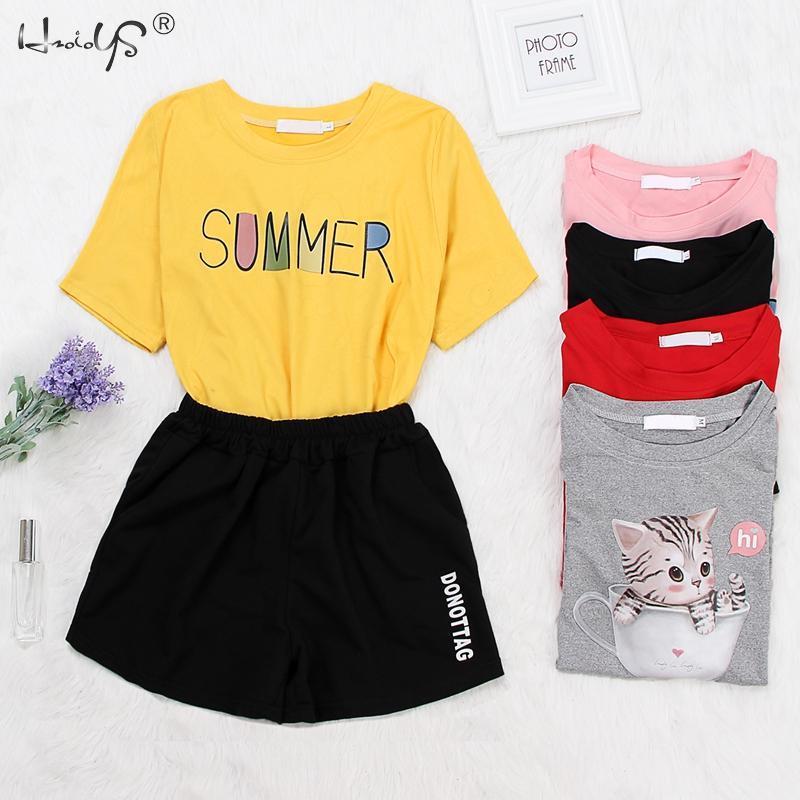 Cartoon Cat & Dog Print Tee Shorts   Pajama     Set   Multicolor Animal   Pajamas   Women Nightwear 2019 Summer Casual Sleepwear
