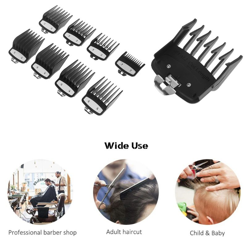 8PCS/SET Professional Cutting Guide Comb for Wahl Electric Trimmers with Metal Clip 3171-500-1/8in to 1in Set 8PCS/SET Professional Cutting Guide Comb for Wahl Electric Trimmers with Metal Clip 3171-500-1/8in to 1in Set