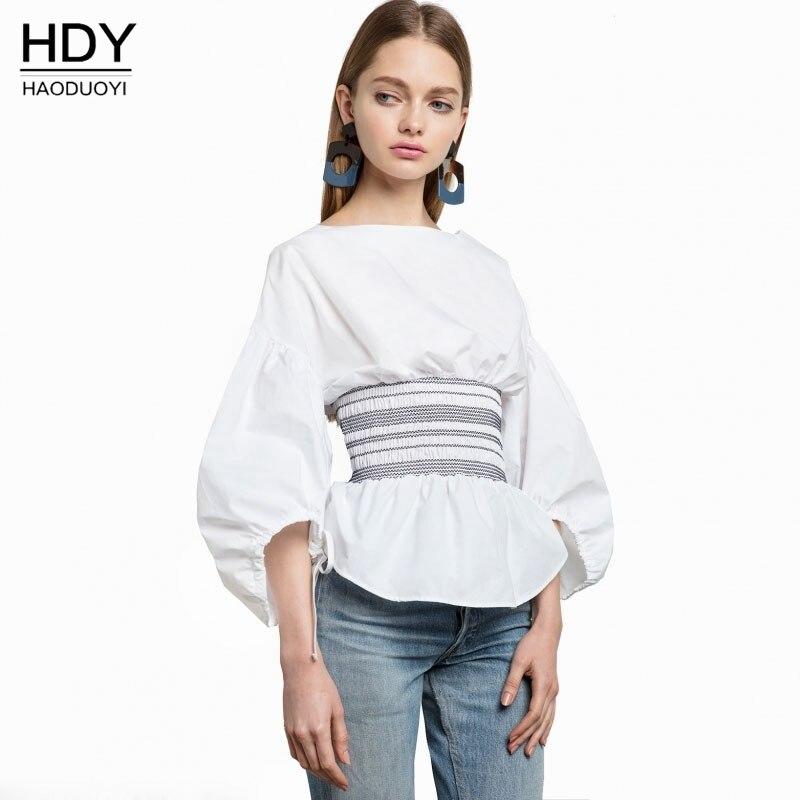 Haoduoyi Woman Bluse 2017 New Summer Sweet Lantern Long Sleeve font b Shirt b font font