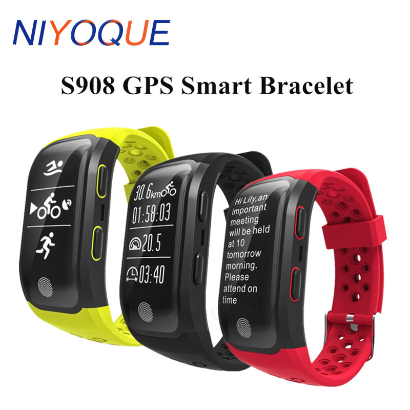 NIYOQUE S908 GPS Smart Band Bluetooth 4.2 Heart Rate IP68 Waterproof Sleep Monitor Pedometer Smart Bracelet For Android IOS original amazfit bip youth edition smart watch gps glonass bluetooth 4 0 heart rate monitor ip68 waterproof android 4 4 ios 8
