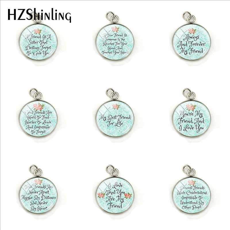 2019 Best Friend Letter Glass Cabochon Round Glass Dome Charm Women Gifts Bible Verse Quote Pendant Stainless Steel Jewelry