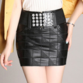 2016 Sexy Bodycon Skirt PU Leather Mini Short Skirt Women Black Pencil Skirts High Waist Rhinestone Belt Skirt Saias Femininas