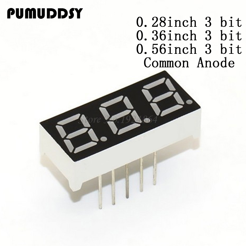 5pcs 7 Digital Tube Segment Common Anode Red 3 Bit Digital Tube 0.56 Inch 12 Needles Red LED Display