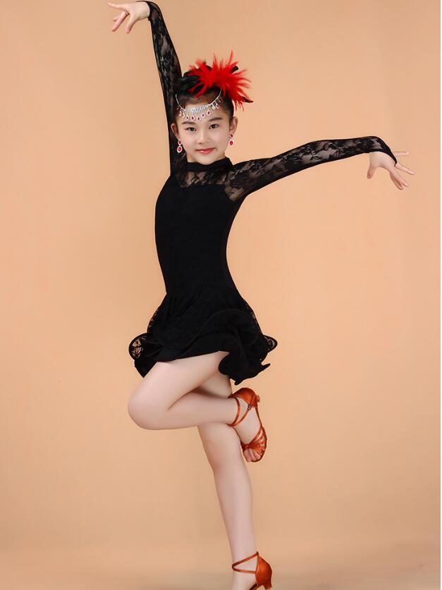 Кружевное платье с длинными рукавами для девочек, одежда для латинских танцев, стандартное детское платье для латинских танцев, детские костюмы для сальсы, бальных танцев - Цвет: Черный