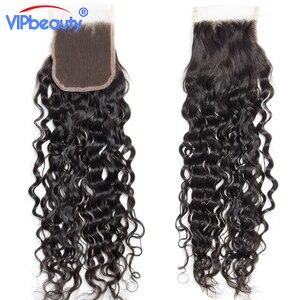 Image 2 - Vip יופי ברזילאי מים גל רמי שיער 4x4 תחרה סגר משלוח חלק 100% שיער טבעי סגירת טבעי צבע 12  18 אינץ