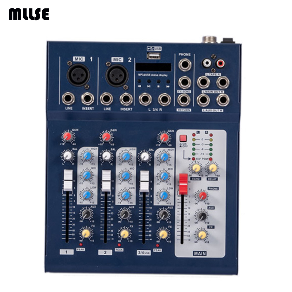 mini audio mixer f4 small mixing console 4 channel in karaoke player from consumer electronics. Black Bedroom Furniture Sets. Home Design Ideas