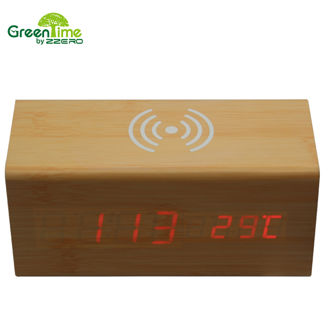 Wood LED Alarm Clock Temperature Voice Control Office Electronic Wireless QI Charging for Phone Timer Home DeskTable Clock WX005