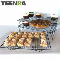 TEENRA 3 Tier Metal Non stick Cooking Rack Net Bread Muffin Drying Stand Cake Cooling Rack Net Cake Cooler Holder Baking Tools
