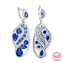 Free Shipping–TZ0113-E Genuine 925 Sterling Silver Micro Pave Blue CZ Drop Earrings S925 Jewelry As Christmas Gift