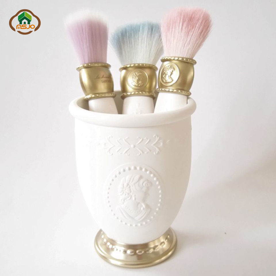 Msjo Makeup Organizer Vintage Felief Cosmetic Tool Holder Plastic Makeup Brush Storage Box Accessory Stationery Organizer Box in Makeup Organizers from Home Garden