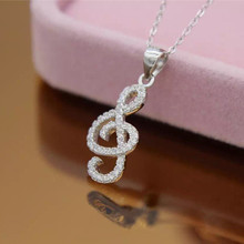 MIESTILO Rhinestone Music Note 925 sterling silver Necklace Pendent Fashion Jewerly Gifts for Music Fans Sterling