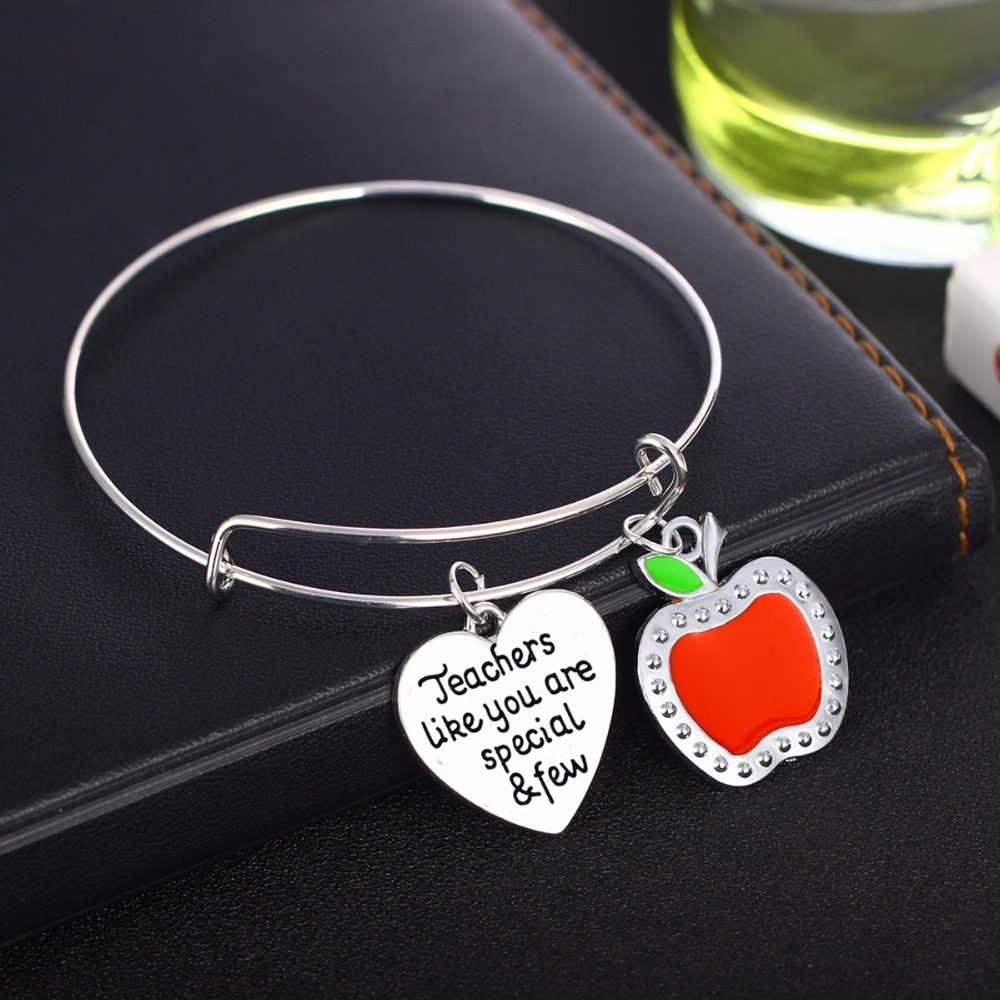 Thank You Love Heart Le Pendant Charms Teachers Bangles Gifts Teacher Bracelets Jewelry S Day Presents Xmas New In From