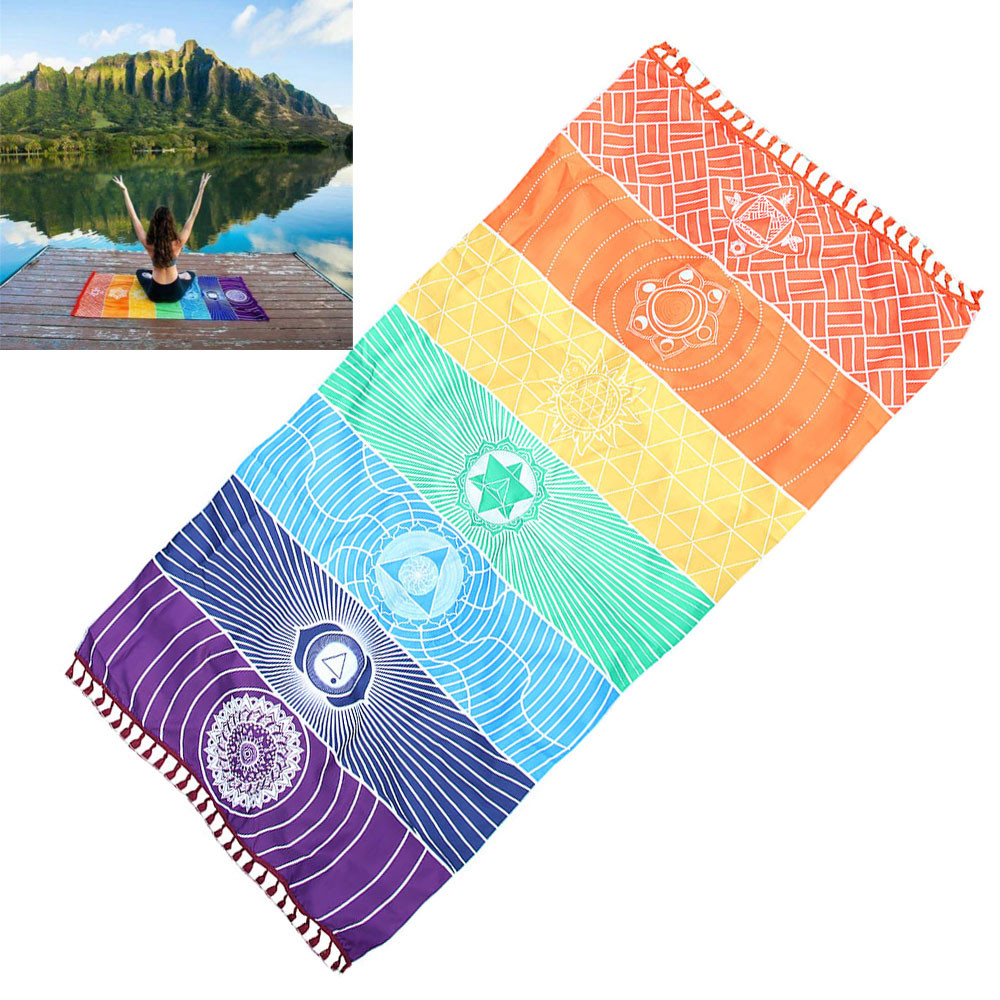 Hot Rainbow Beach Mat Mandala Blanket Stripe Towel Yoga Original design Mala beads цена 2017