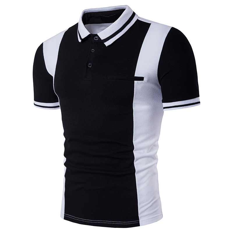 ZOGAA Hot Sale Men Spring Casual Slim Fit Shirts Short Sleeve Patchwork Shirt Top Blouse Black and White with Lapel   Polo   Shirt