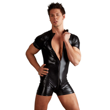 Men's Solid Black Leather Sexy Romper