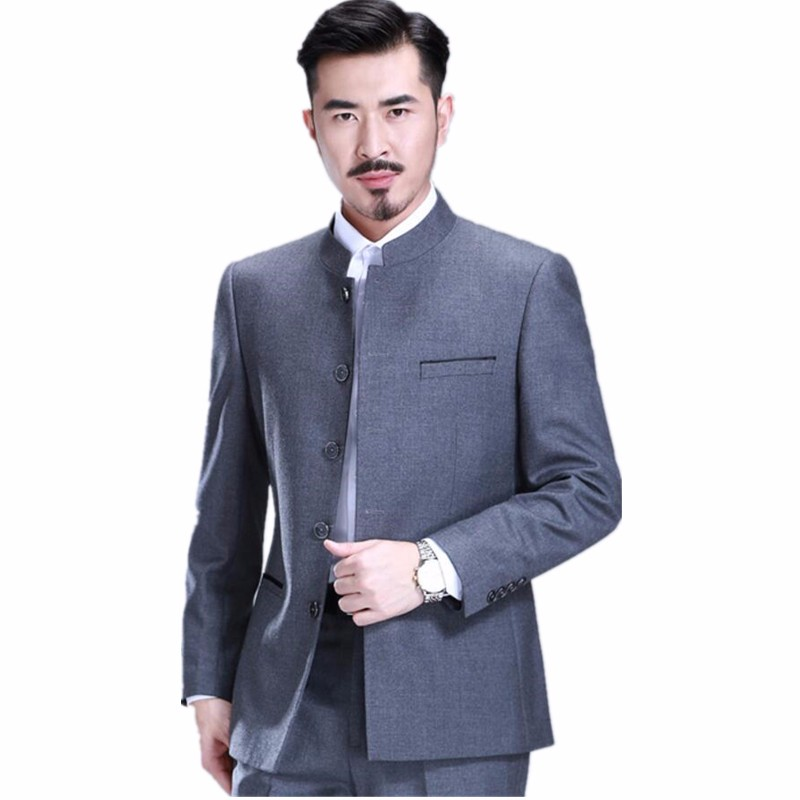 Three Pieces Chinese Tunic Suit Formal Tuxedos For Men Grey Mao Suits Groom Wear Zhongshan Suits