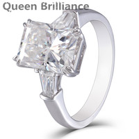 Queen Brilliance 4ct 8X10mm F Color Radiant Cut Lab Grown Moissanite Diamond Engagement Ring Solid 14K