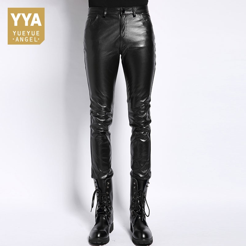 Plus Size 6XL Mens Pantalon Autumn 2020 New Fashion Real Leather Trousers Motorcycle Casual Slim Fleece Lining Warm Pants Male