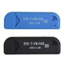 Mini Equipo de Vídeo TV Dongle de DVB-T + DAB + FM + RTL2832U R820T2 Digital USB 2.0 Stick de TV Soporte SDR Sintonizador Receptor + Antena