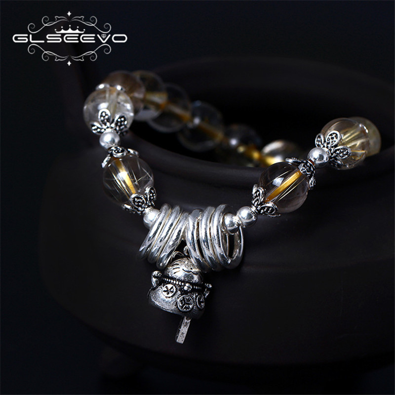 GLSEEVO 925 Sterling Silver Handmade DIY Jewelry Natural Golden Crystal Lucky Cat Bell Elastic Rope Bracelet Women Female GB0024 s925 sterling silver bell lucky red rope bracelet handmade bracelets wax string amulet jewelry 1383